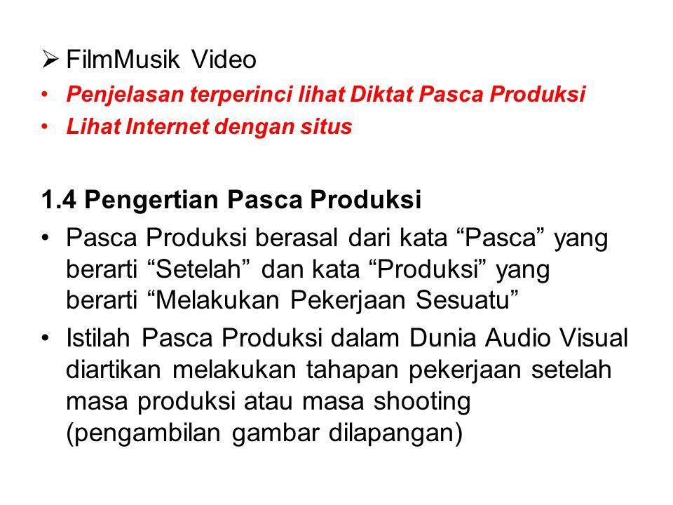  FilmMusik Video Penjelasan terperinci lihat Diktat Pasca Produksi Lihat Internet dengan situs 1.4 Pengertian Pasca Produksi Pasca Produksi berasal d