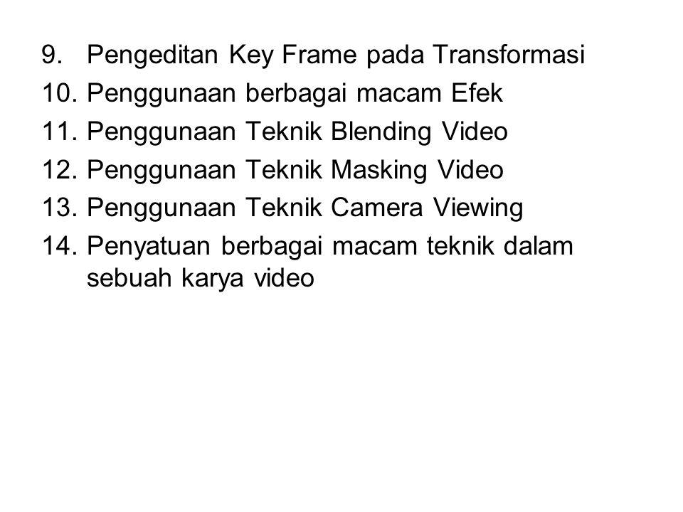 9.Pengeditan Key Frame pada Transformasi 10.Penggunaan berbagai macam Efek 11.Penggunaan Teknik Blending Video 12.Penggunaan Teknik Masking Video 13.Penggunaan Teknik Camera Viewing 14.Penyatuan berbagai macam teknik dalam sebuah karya video