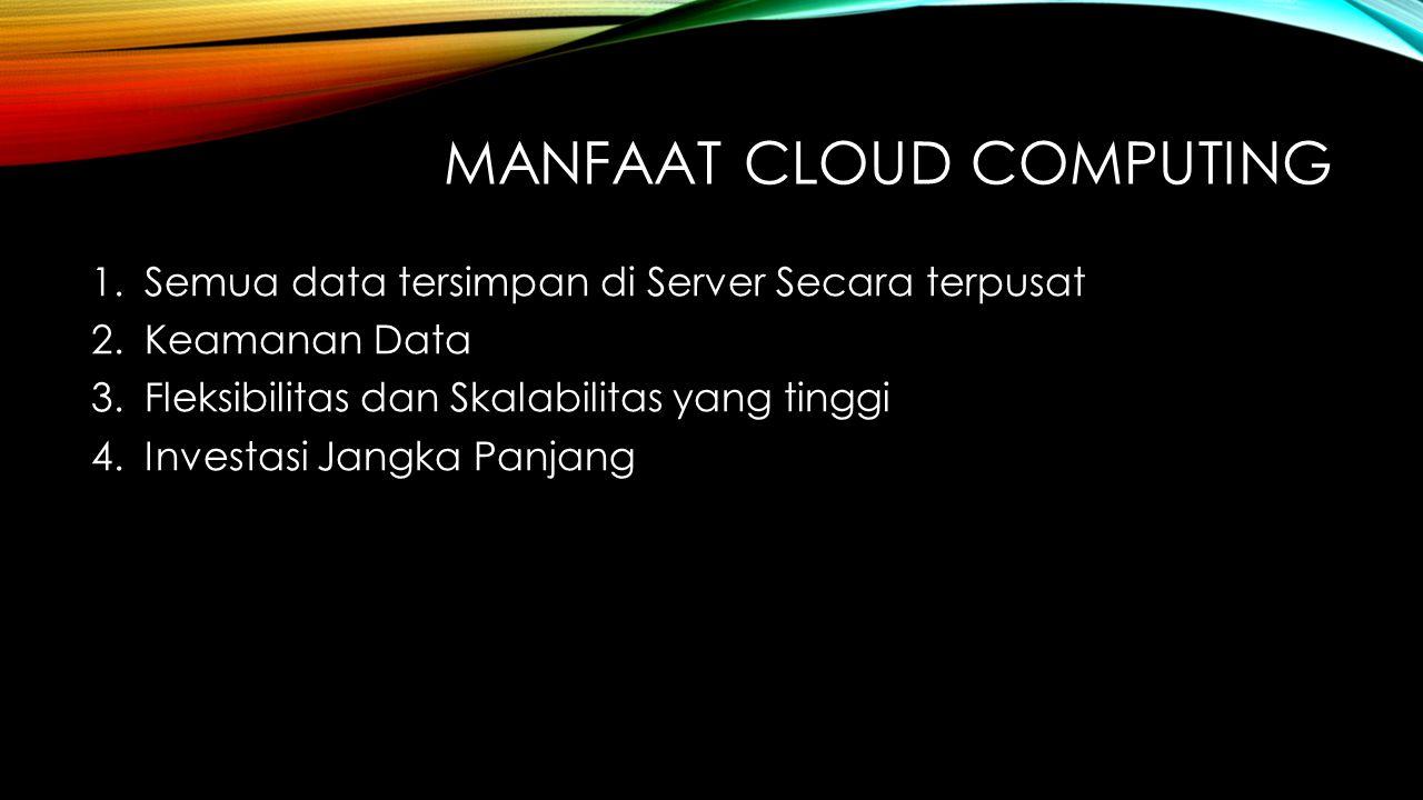 MANFAAT CLOUD COMPUTING 1.Semua data tersimpan di Server Secara terpusat 2.Keamanan Data 3.Fleksibilitas dan Skalabilitas yang tinggi 4.Investasi Jang