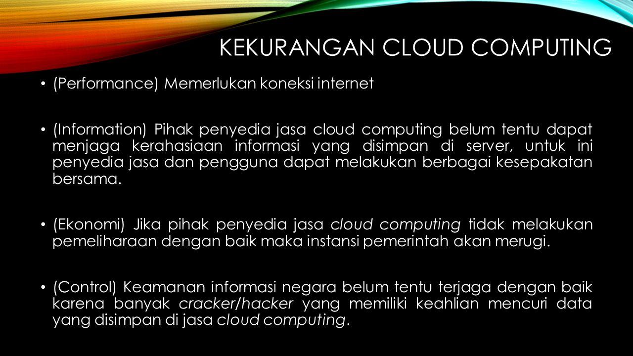 KEKURANGAN CLOUD COMPUTING (Performance) Memerlukan koneksi internet (Information) Pihak penyedia jasa cloud computing belum tentu dapat menjaga kerah