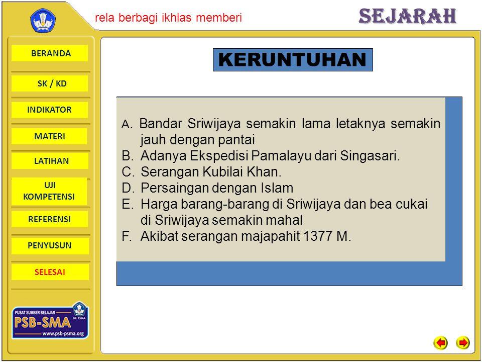 BERANDA SK / KD INDIKATORSejarah rela berbagi ikhlas memberi MATERI LATIHAN UJI KOMPETENSI REFERENSI PENYUSUN SELESAI KERUNTUHAN A. Bandar Sriwijaya s