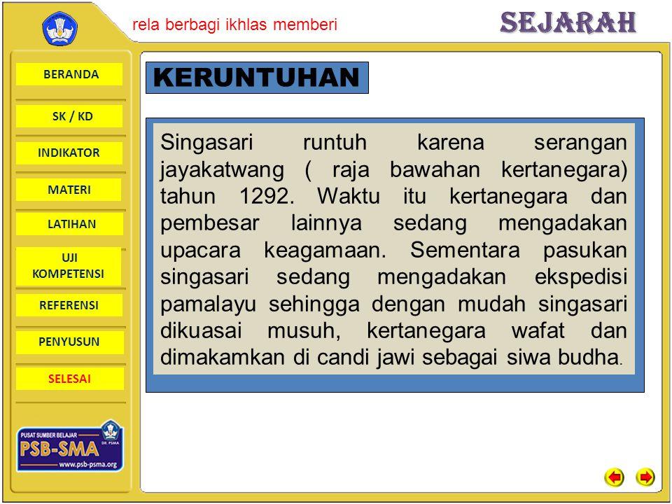 BERANDA SK / KD INDIKATORSejarah rela berbagi ikhlas memberi MATERI LATIHAN UJI KOMPETENSI REFERENSI PENYUSUN SELESAI KERUNTUHAN Singasari runtuh kare