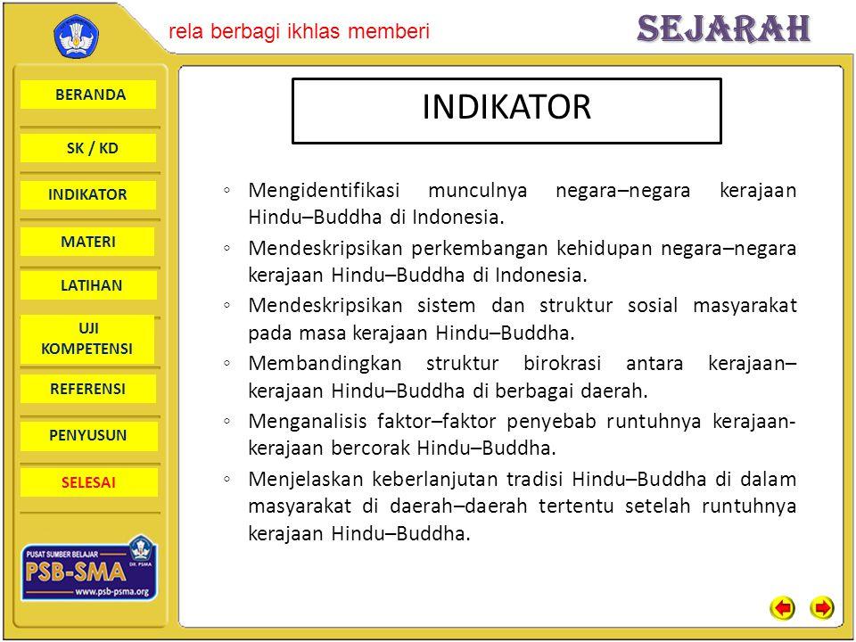 BERANDA SK / KD INDIKATORSejarah rela berbagi ikhlas memberi MATERI LATIHAN UJI KOMPETENSI REFERENSI PENYUSUN SELESAI ◦ Mengidentifikasi munculnya negara–negara kerajaan Hindu–Buddha di Indonesia.