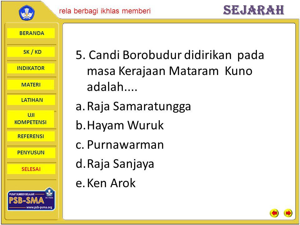 BERANDA SK / KD INDIKATORSejarah rela berbagi ikhlas memberi MATERI LATIHAN UJI KOMPETENSI REFERENSI PENYUSUN SELESAI 5. Candi Borobudur didirikan pad