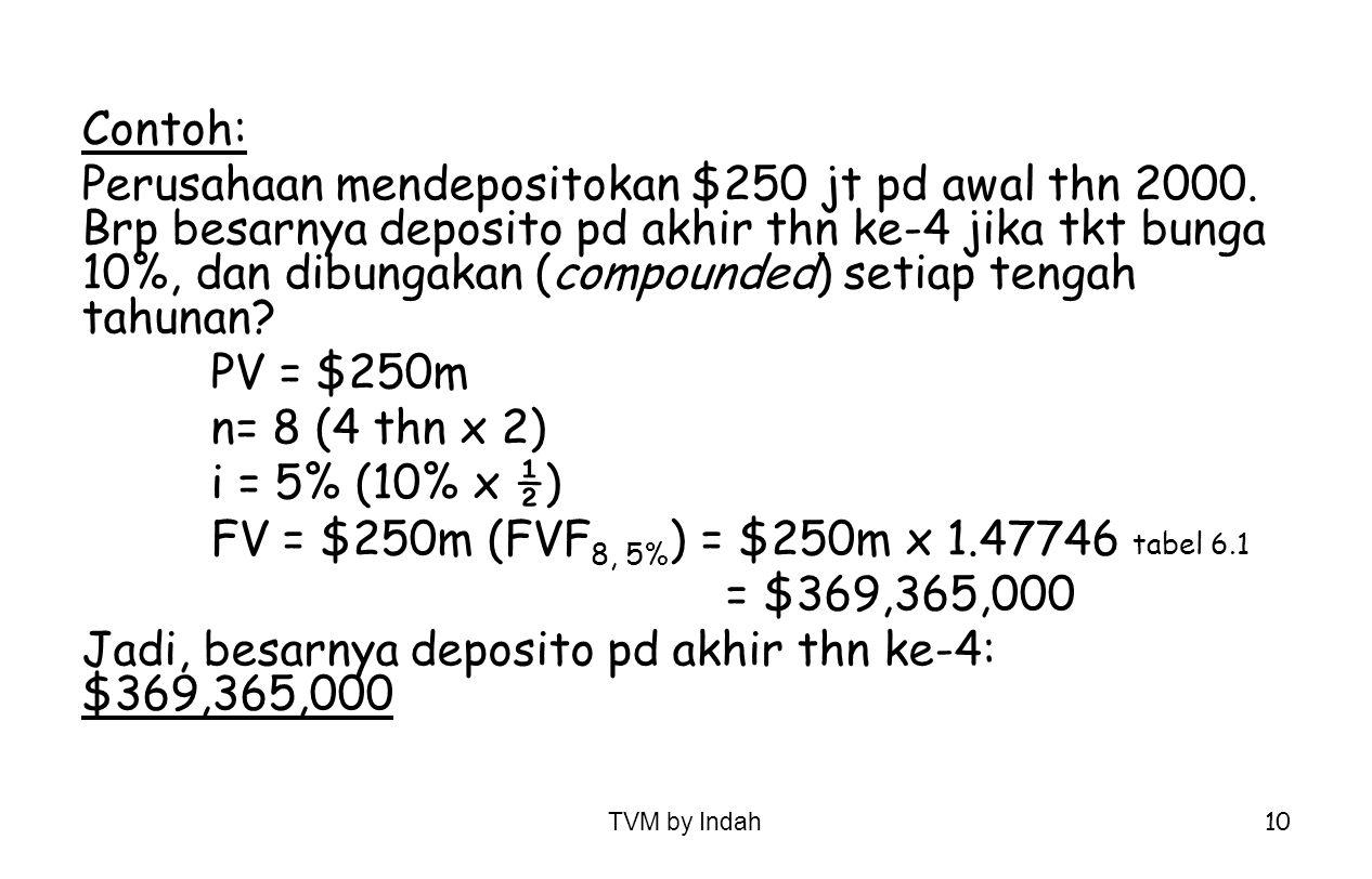 TVM by Indah 10 Contoh: Perusahaan mendepositokan $250 jt pd awal thn 2000. Brp besarnya deposito pd akhir thn ke-4 jika tkt bunga 10%, dan dibungakan