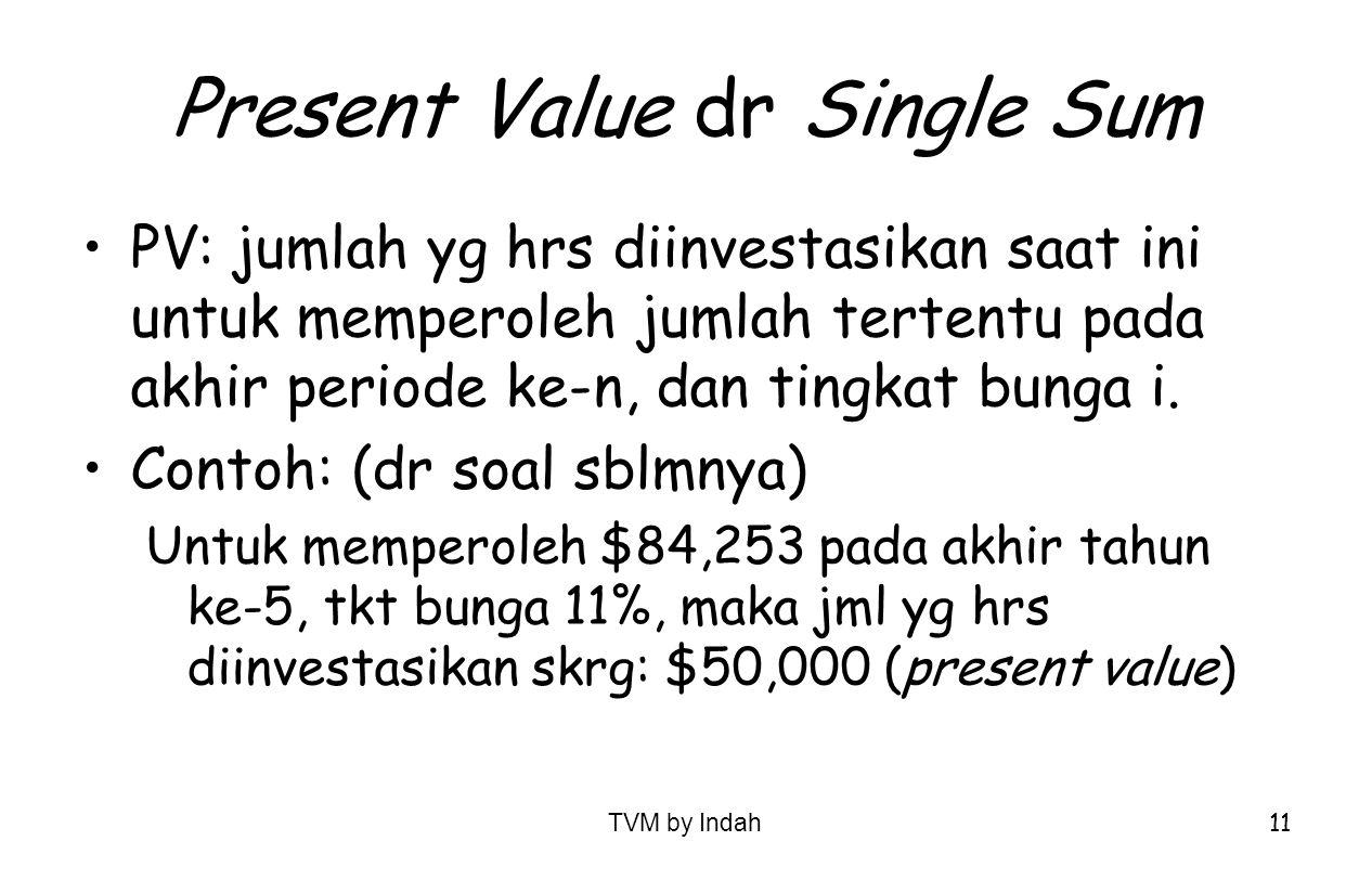 TVM by Indah 11 Present Value dr Single Sum PV: jumlah yg hrs diinvestasikan saat ini untuk memperoleh jumlah tertentu pada akhir periode ke-n, dan ti
