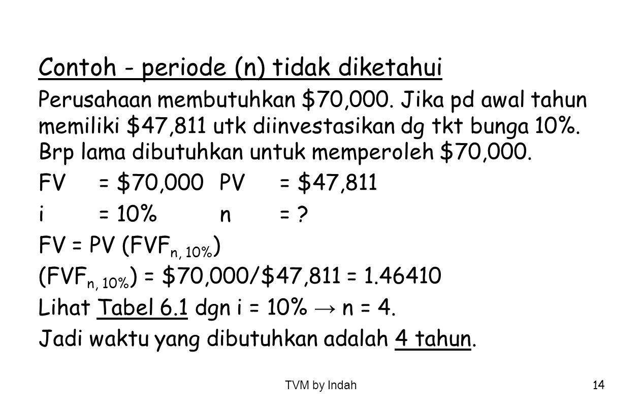TVM by Indah 14 Contoh - periode (n) tidak diketahui Perusahaan membutuhkan $70,000. Jika pd awal tahun memiliki $47,811 utk diinvestasikan dg tkt bun