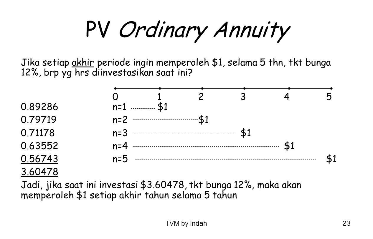TVM by Indah 23 PV Ordinary Annuity Jika setiap akhir periode ingin memperoleh $1, selama 5 thn, tkt bunga 12%, brp yg hrs diinvestasikan saat ini? 01