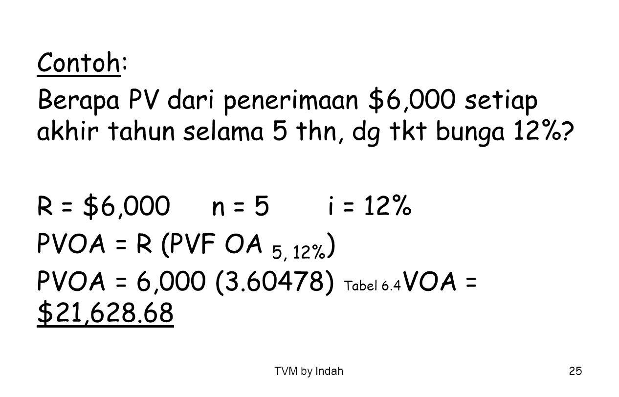 TVM by Indah 25 Contoh: Berapa PV dari penerimaan $6,000 setiap akhir tahun selama 5 thn, dg tkt bunga 12%? R = $6,000n = 5i = 12% PVOA = R (PVF OA 5,