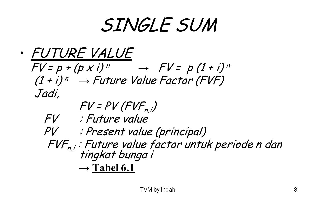 TVM by Indah 8 SINGLE SUM FUTURE VALUE FV = p + (p x i) n → FV = p (1 + i) n (1 + i) n → Future Value Factor (FVF) Jadi, FV = PV (FVF n,i ) FV : Futur