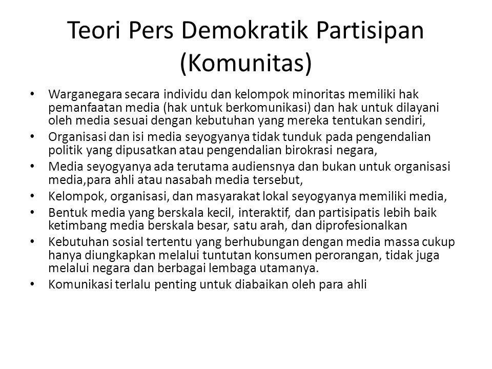 Teori Pers Demokratik Partisipan (Komunitas) Warganegara secara individu dan kelompok minoritas memiliki hak pemanfaatan media (hak untuk berkomunikas
