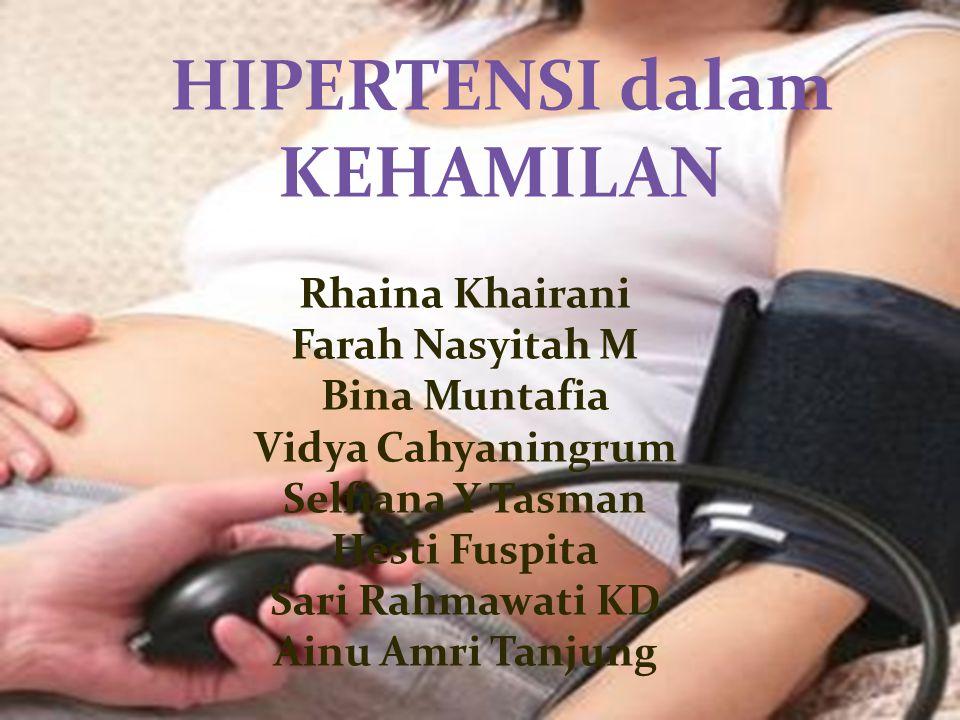 1.Gestational Hypertension 2. Preeclampsia 3. Eclampsia 4.