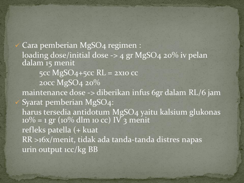 Cara pemberian MgSO4 regimen : loading dose/initial dose -> 4 gr MgSO4 20% iv pelan dalam 15 menit 5cc MgSO4+5cc RL = 2x10 cc 20cc MgSO4 20% maintenance dose -> diberikan infus 6gr dalam RL/6 jam Syarat pemberian MgSO4: harus tersedia antidotum MgSO4 yaitu kalsium glukonas 10% = 1 gr (10% dlm 10 cc) IV 3 menit refleks patella (+ kuat RR >16x/menit, tidak ada tanda-tanda distres napas urin output 1cc/kg BB