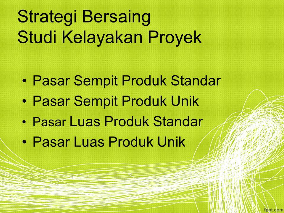 Strategi Bersaing Studi Kelayakan Proyek Pasar Sempit Produk Standar Pasar Sempit Produk Unik Pasar Luas Produk Standar Pasar Luas Produk Unik