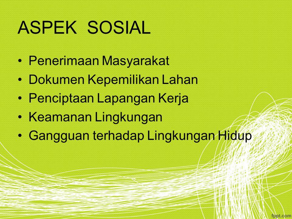 ASPEK SOSIAL Penerimaan Masyarakat Dokumen Kepemilikan Lahan Penciptaan Lapangan Kerja Keamanan Lingkungan Gangguan terhadap Lingkungan Hidup