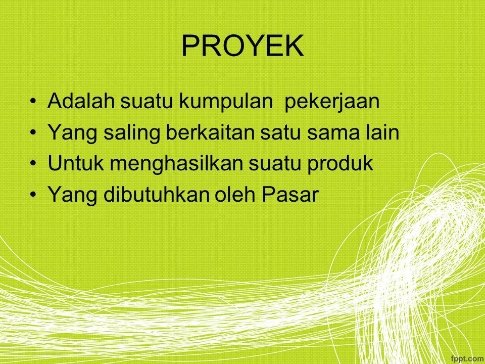 PROYEK Adalah suatu kumpulan pekerjaan Yang saling berkaitan satu sama lain Untuk menghasilkan suatu produk Yang dibutuhkan oleh Pasar