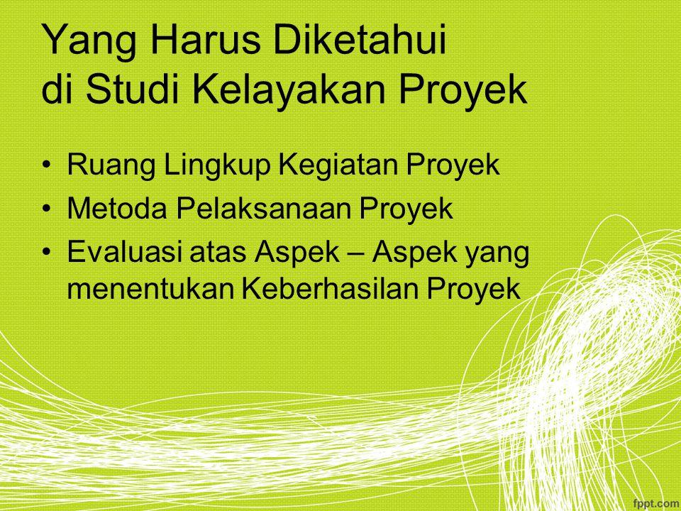 Intensitas Studi Kelayakan Proyek Besarnya Dana yang Diinvestasikan.