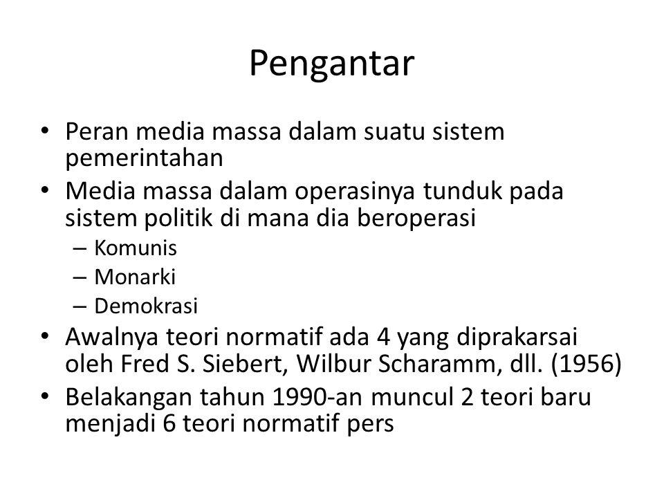 Pengantar Peran media massa dalam suatu sistem pemerintahan Media massa dalam operasinya tunduk pada sistem politik di mana dia beroperasi – Komunis –