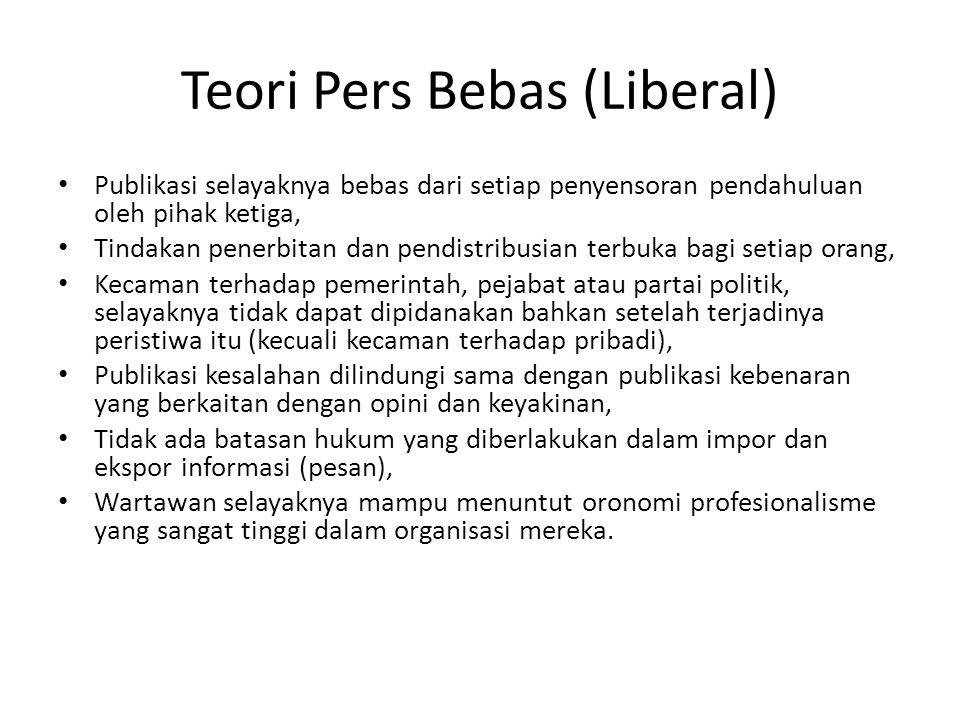 Teori Pers Bebas (Liberal) Publikasi selayaknya bebas dari setiap penyensoran pendahuluan oleh pihak ketiga, Tindakan penerbitan dan pendistribusian t