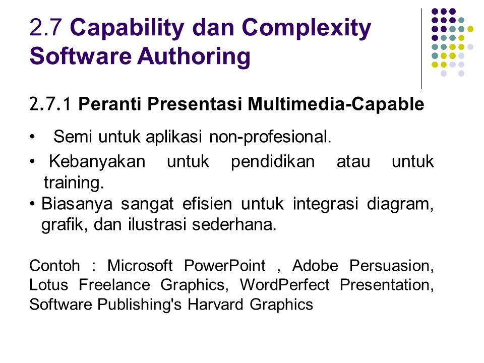 2.7 Capability dan Complexity Software Authoring 2.7.1 Peranti Presentasi Multimedia-Capable Semi untuk aplikasi non-profesional.