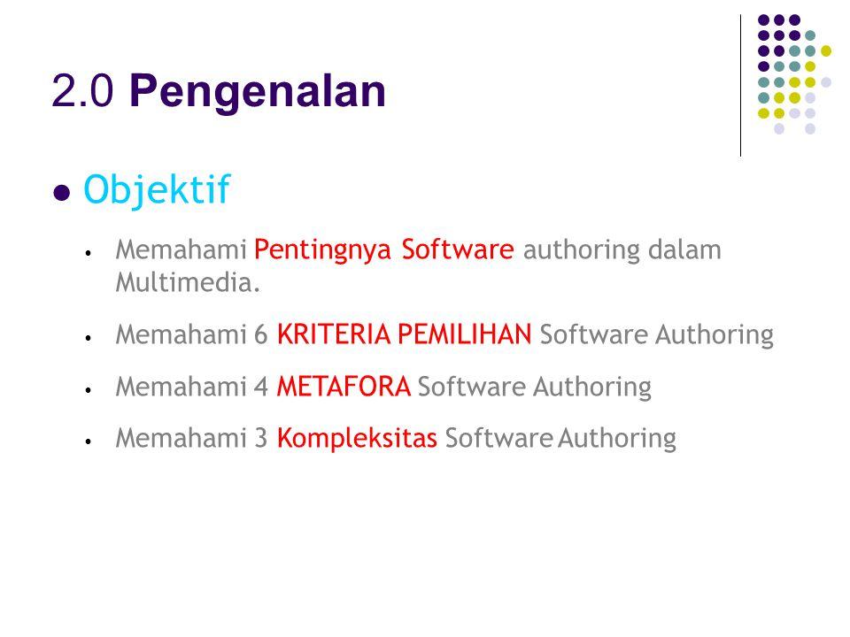 2.0 Pengenalan Objektif Memahami Pentingnya Software authoring dalam Multimedia.