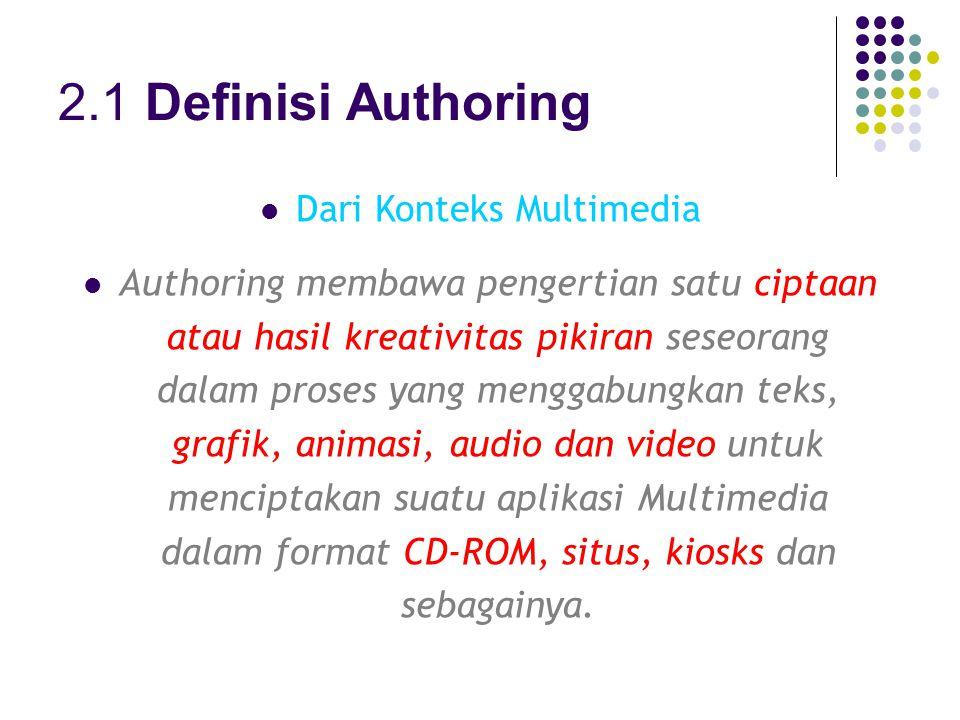 2.1 Definisi Authoring Dari Konteks Multimedia Authoring membawa pengertian satu ciptaan atau hasil kreativitas pikiran seseorang dalam proses yang menggabungkan teks, grafik, animasi, audio dan video untuk menciptakan suatu aplikasi Multimedia dalam format CD-ROM, situs, kiosks dan sebagainya.