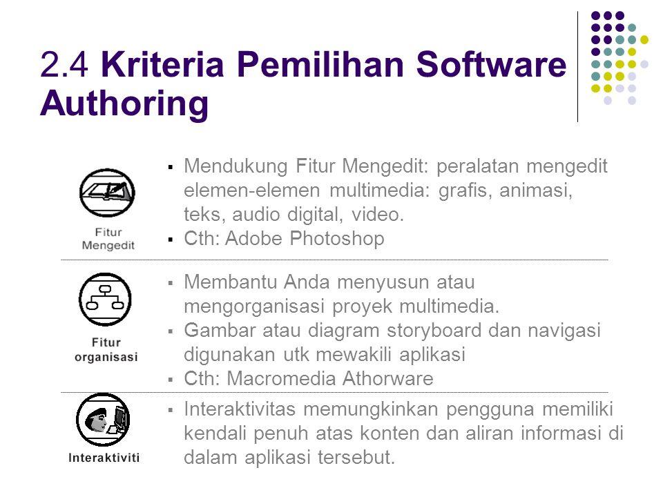 2.7 Capability dan Complexity Software Authoring 2.7.2 Peranti Integrasi Dedicated Media - Urutan kejadian2 dan elemen2 multimedia.