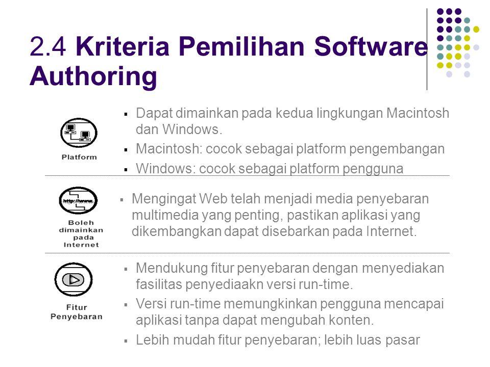 2.4 Kriteria Pemilihan Software Authoring  Dapat dimainkan pada kedua lingkungan Macintosh dan Windows.