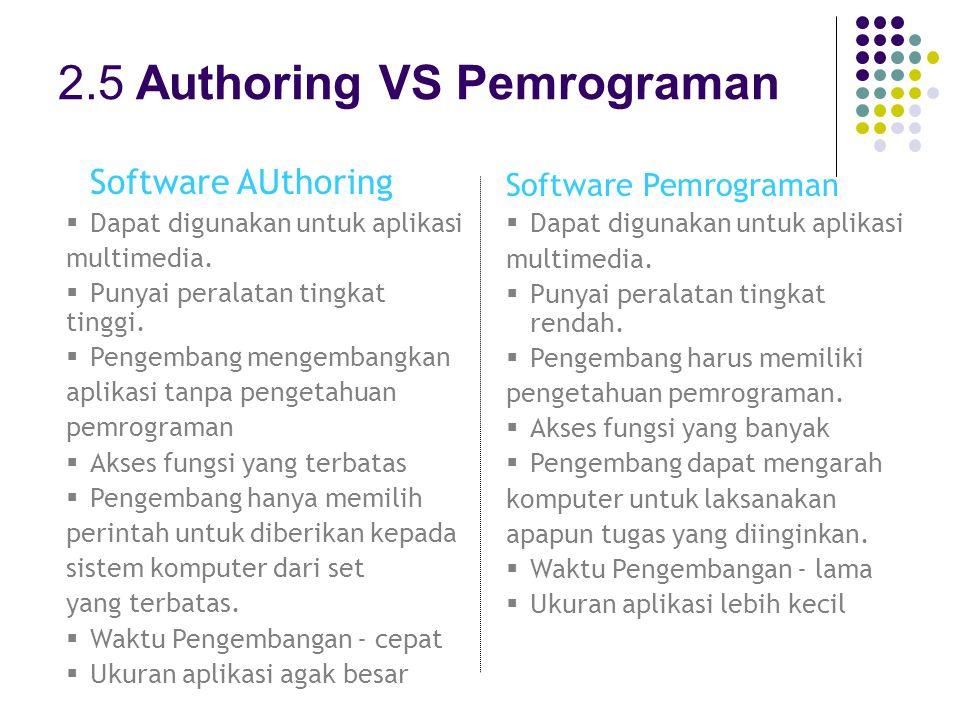 2.5 Authoring VS Pemrograman Software AUthoring  Dapat digunakan untuk aplikasi multimedia.
