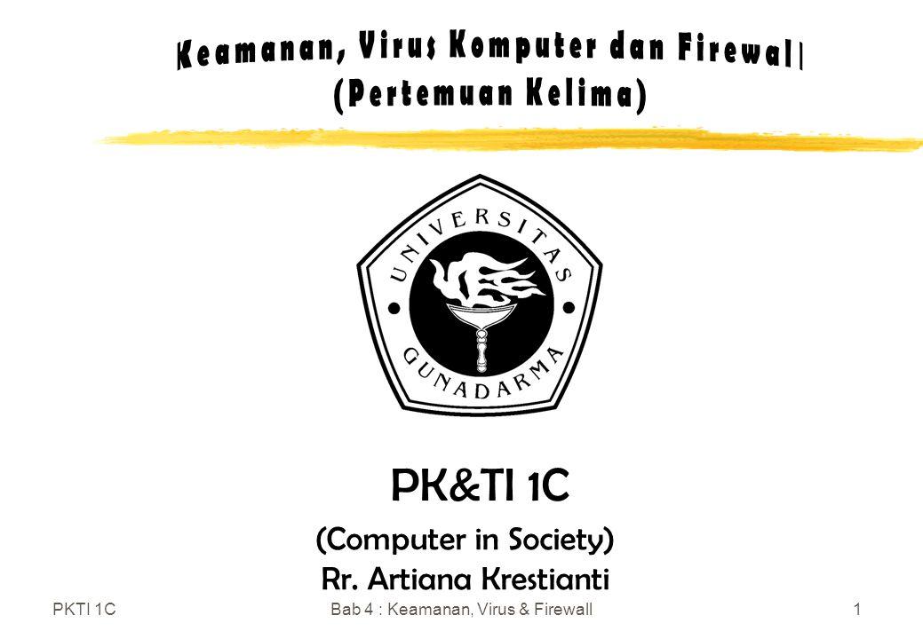 PKTI 1CBab 4 : Keamanan, Virus & Firewall1 (Computer in Society) Rr. Artiana Krestianti PK&TI 1C
