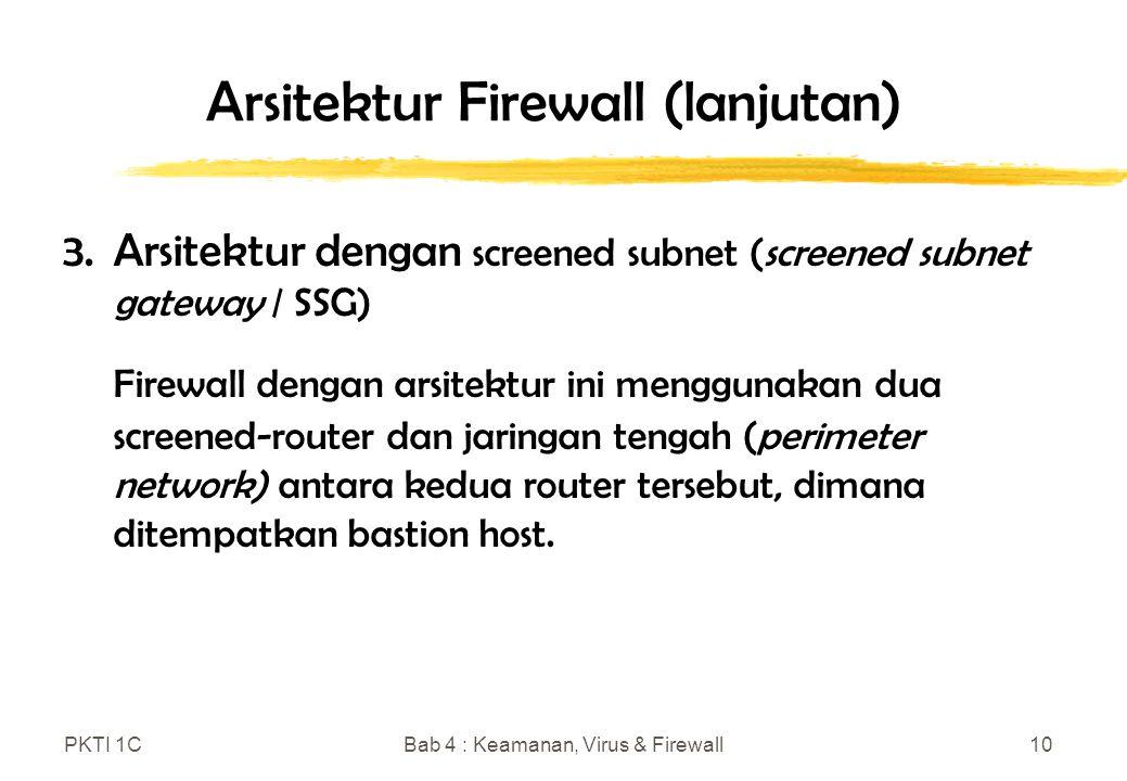 PKTI 1CBab 4 : Keamanan, Virus & Firewall10 Arsitektur Firewall (lanjutan) 3.Arsitektur dengan screened subnet (screened subnet gateway / SSG) Firewall dengan arsitektur ini menggunakan dua screened-router dan jaringan tengah (perimeter network) antara kedua router tersebut, dimana ditempatkan bastion host.