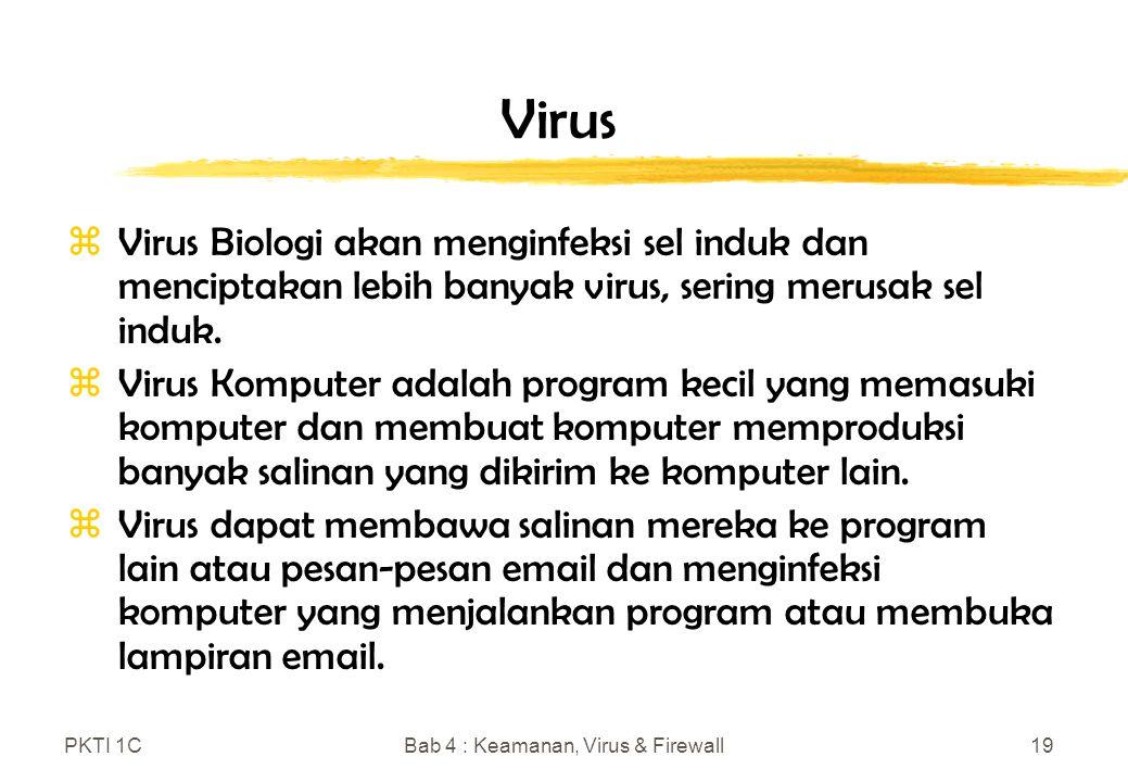 PKTI 1CBab 4 : Keamanan, Virus & Firewall19 Virus zVirus Biologi akan menginfeksi sel induk dan menciptakan lebih banyak virus, sering merusak sel induk.