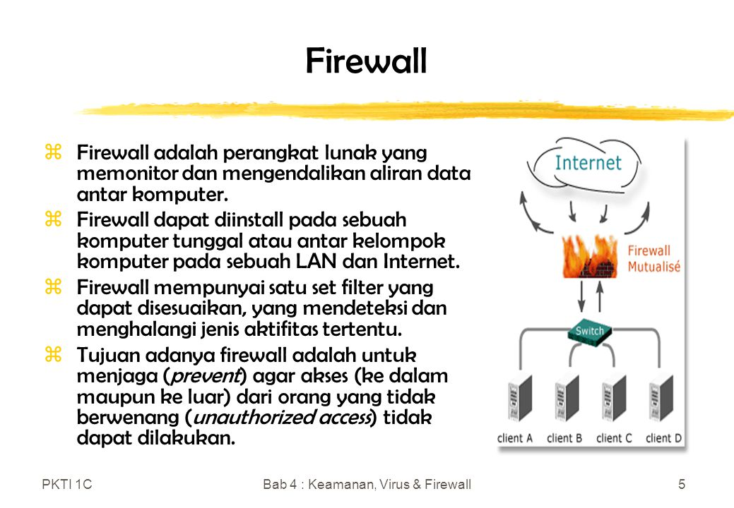 PKTI 1CBab 4 : Keamanan, Virus & Firewall5 Firewall zFirewall adalah perangkat lunak yang memonitor dan mengendalikan aliran data antar komputer.