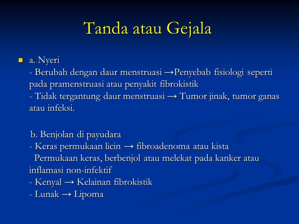 Tanda atau Gejala Tanda atau Gejala a. Nyeri - Berubah dengan daur menstruasi → Penyebab fisiologi seperti pada pramenstruasi atau penyakit fibrokisti