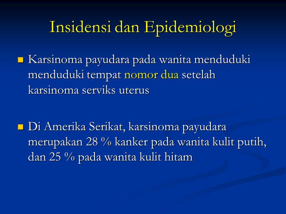 Prognosis dan tingkat penyebaran tumor I.T1 N0 M0 (kecil, terbatas pada mammae) → 85 % I.