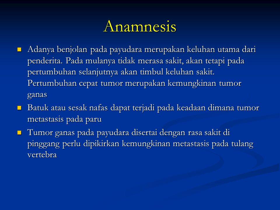 Anamnesis Adanya benjolan pada payudara merupakan keluhan utama dari penderita. Pada mulanya tidak merasa sakit, akan tetapi pada pertumbuhan selanjut