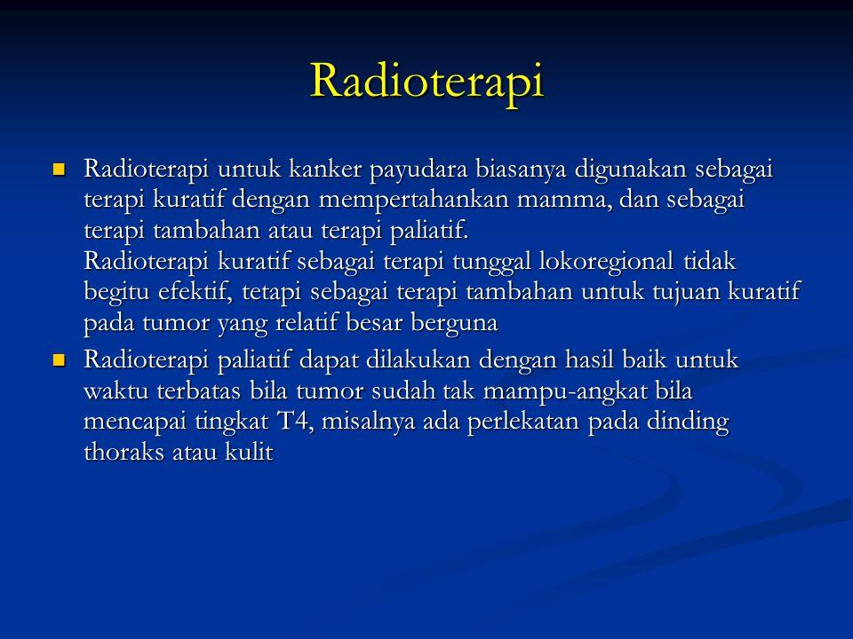 Radioterapi Radioterapi untuk kanker payudara biasanya digunakan sebagai terapi kuratif dengan mempertahankan mamma, dan sebagai terapi tambahan atau