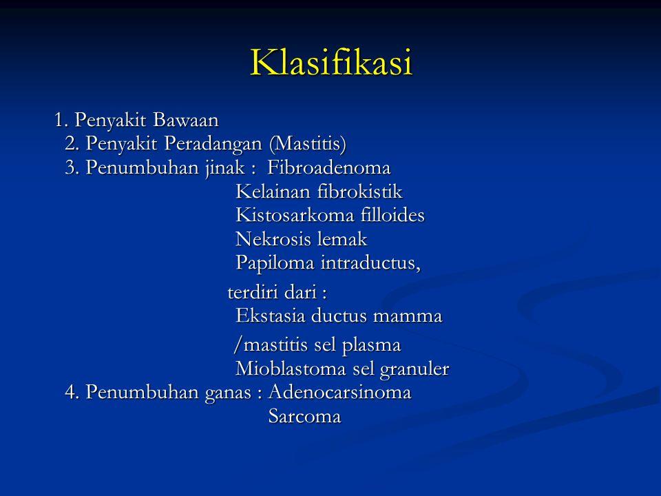 Klasifikasi 1. Penyakit Bawaan 2. Penyakit Peradangan (Mastitis) 3. Penumbuhan jinak : Fibroadenoma Kelainan fibrokistik Kistosarkoma filloides Nekros