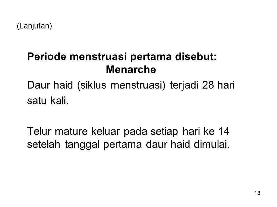 (Lanjutan) Periode menstruasi pertama disebut: Menarche Daur haid (siklus menstruasi) terjadi 28 hari satu kali. Telur mature keluar pada setiap hari
