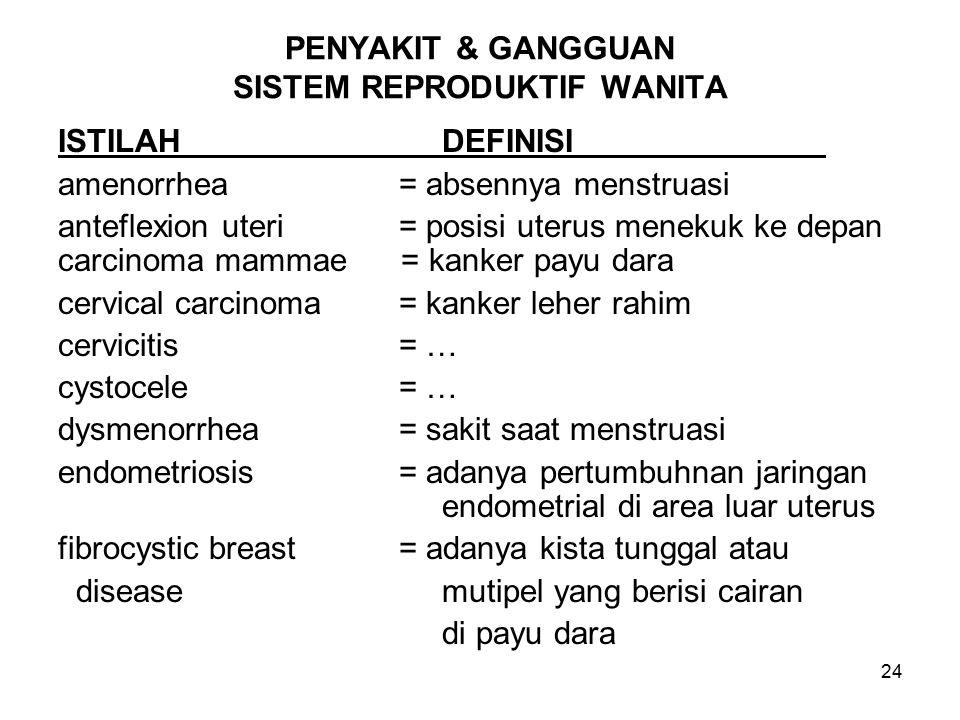 24 PENYAKIT & GANGGUAN SISTEM REPRODUKTIF WANITA ISTILAHDEFINISI amenorrhea = absennya menstruasi anteflexion uteri = posisi uterus menekuk ke depan carcinoma mammae = kanker payu dara cervical carcinoma = kanker leher rahim cervicitis = … cystocele = … dysmenorrhea = sakit saat menstruasi endometriosis = adanya pertumbuhnan jaringan endometrial di area luar uterus fibrocystic breast = adanya kista tunggal atau diseasemutipel yang berisi cairan di payu dara