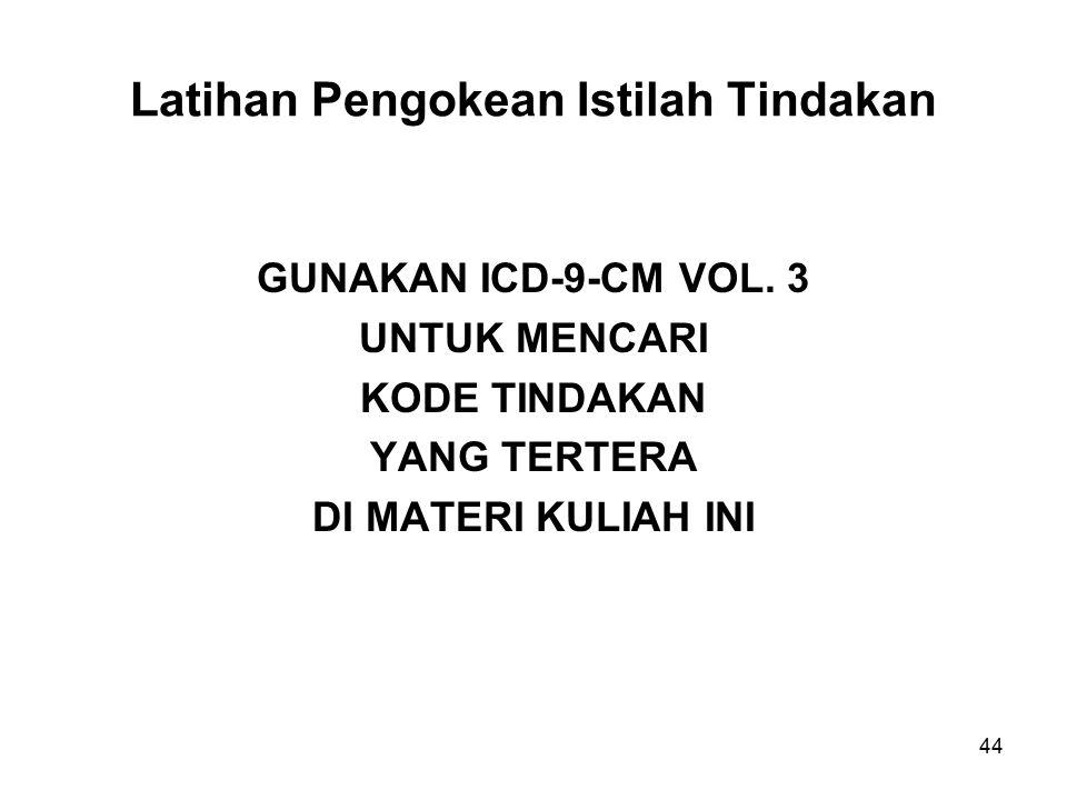 Latihan Pengokean Istilah Tindakan GUNAKAN ICD-9-CM VOL.