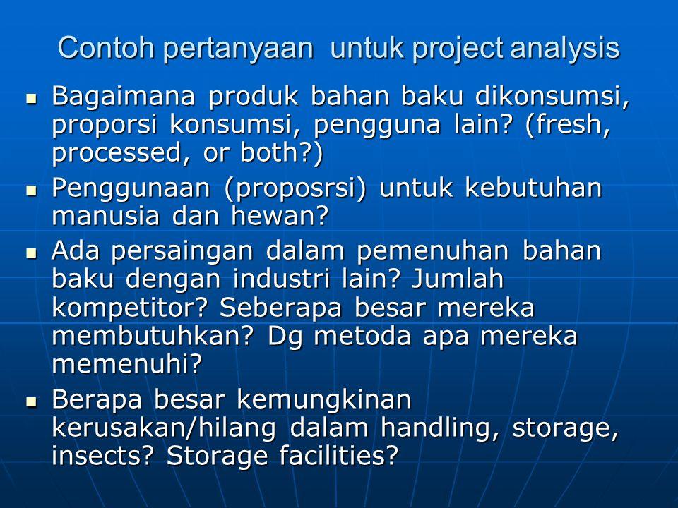 Contoh pertanyaan untuk project analysis Bagaimana produk bahan baku dikonsumsi, proporsi konsumsi, pengguna lain.