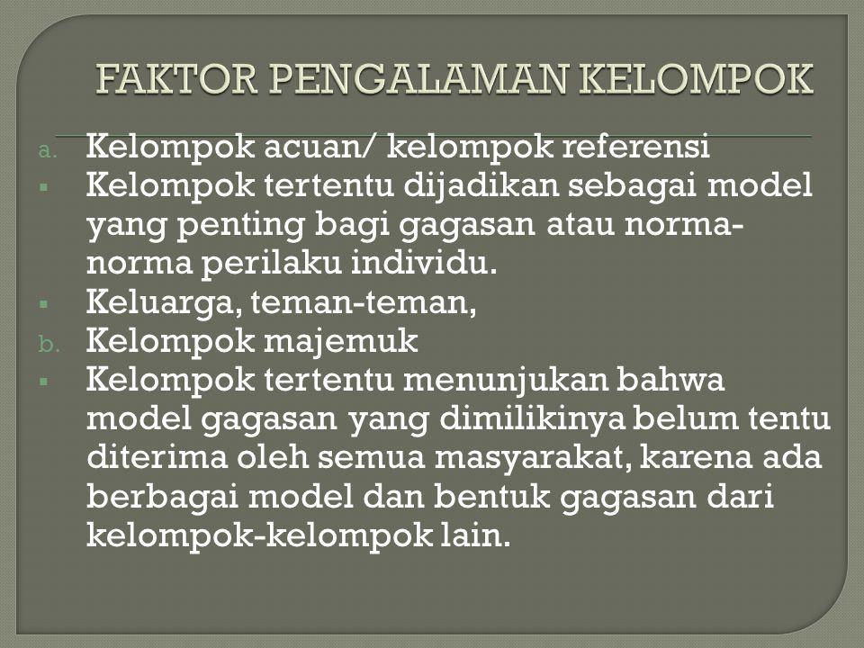 a. Kelompok acuan/ kelompok referensi KKelompok tertentu dijadikan sebagai model yang penting bagi gagasan atau norma- norma perilaku individu. KK