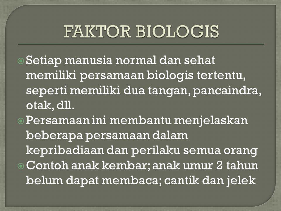  Setiap manusia normal dan sehat memiliki persamaan biologis tertentu, seperti memiliki dua tangan, pancaindra, otak, dll.  Persamaan ini membantu m