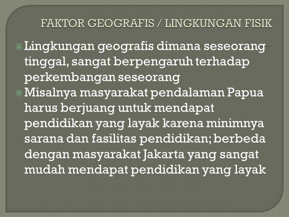  Lingkungan geografis dimana seseorang tinggal, sangat berpengaruh terhadap perkembangan seseorang  Misalnya masyarakat pendalaman Papua harus berju
