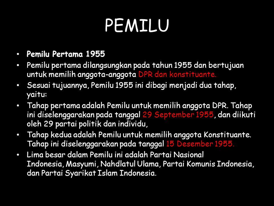 PEMILU Pemilu Pertama 1955 Pemilu pertama dilangsungkan pada tahun 1955 dan bertujuan untuk memilih anggota-anggota DPR dan konstituante. Sesuai tujua