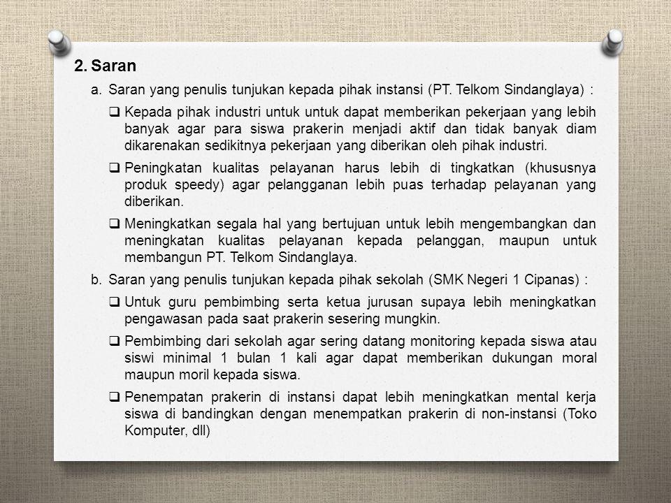BAB V PENUTUP 1.Kesimpulan Setelah melaksanakan Praktik Kerja Industri (PRAKERIN) di Perusahaan PT. Telkom Kandatel Sindanglaya selama 3 bulan, dapat