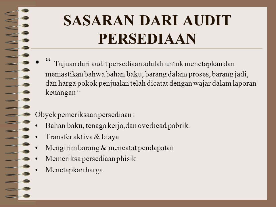 """SASARAN DARI AUDIT PERSEDIAAN """" Tujuan dari audit persediaan adalah untuk menetapkan dan memastikan bahwa bahan baku, barang dalam proses, barang jadi"""