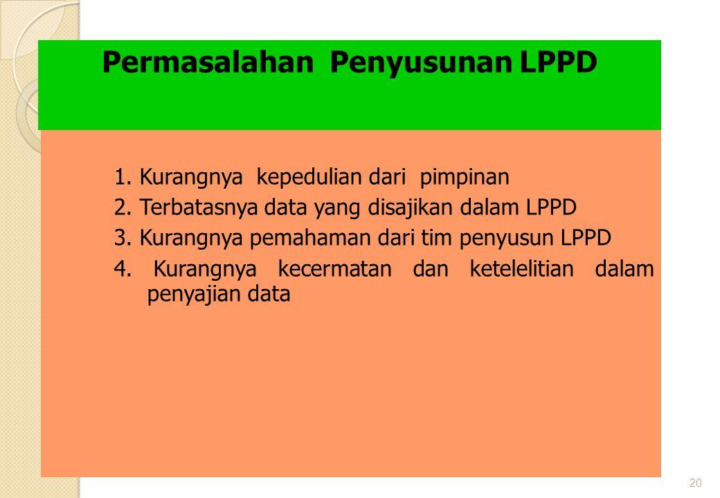 20 Permasalahan Penyusunan LPPD 1. Kurangnya kepedulian dari pimpinan 2. Terbatasnya data yang disajikan dalam LPPD 3. Kurangnya pemahaman dari tim pe