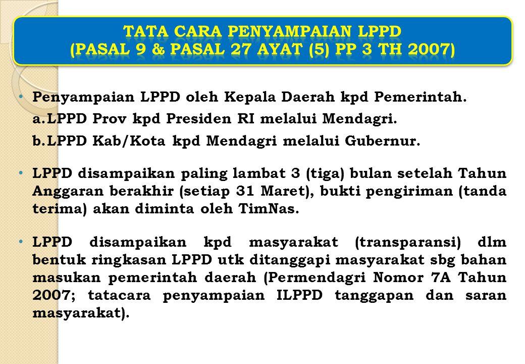Penyampaian LPPD oleh Kepala Daerah kpd Pemerintah. a.LPPD Prov kpd Presiden RI melalui Mendagri. b.LPPD Kab/Kota kpd Mendagri melalui Gubernur. LPPD